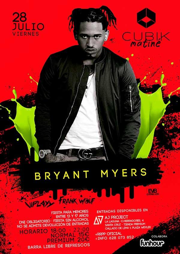 Cartel concierto Bryant Myers Tenerife 2018