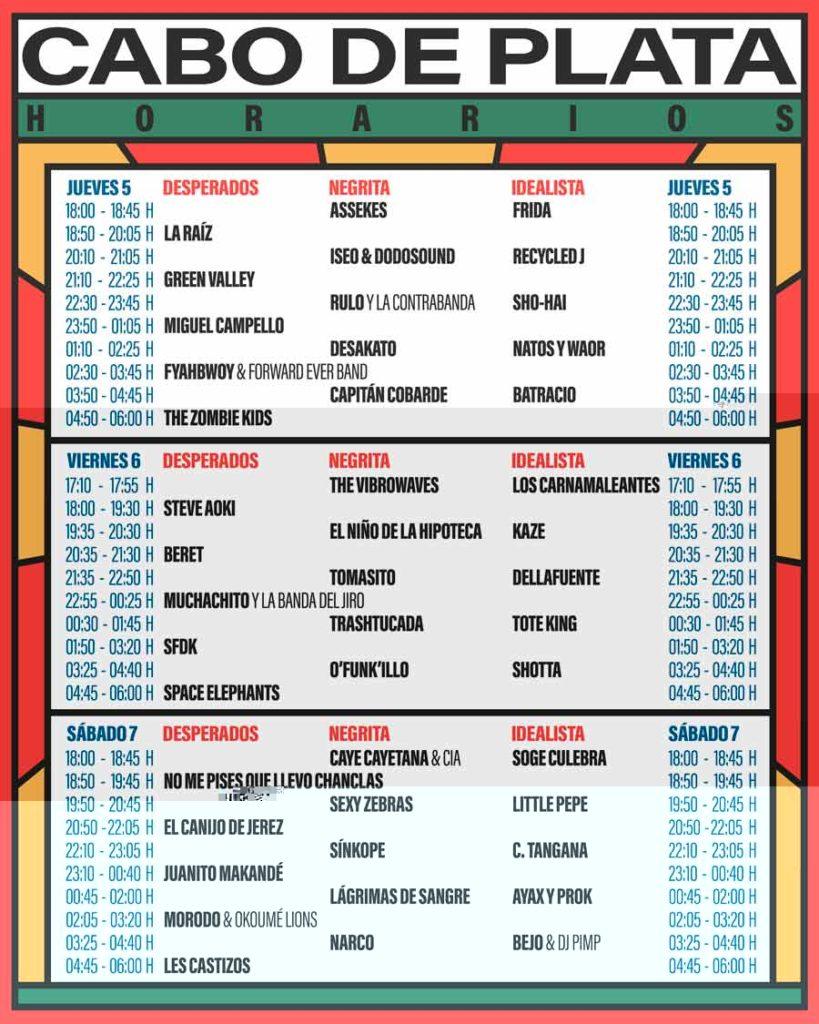 horarios Festival Cabo de Plata 2018