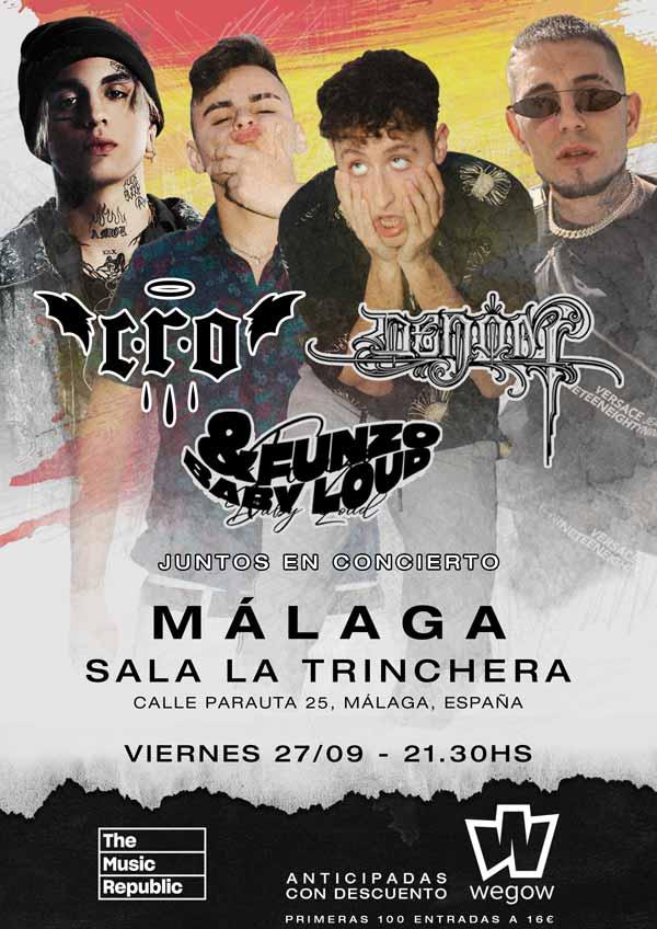 Denom, CRO, Funzo y Baby Loud en concierto en Málaga