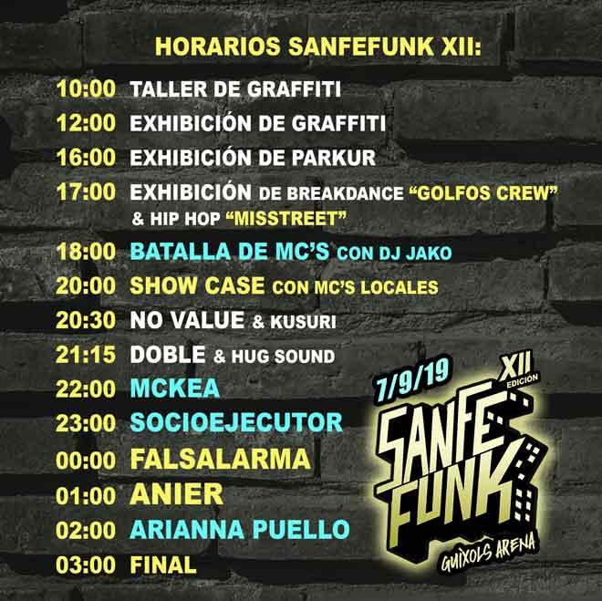 horarios Sanfefunk HIP HOP Festival